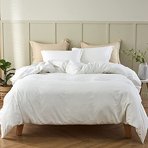 """Simple&Opulence French Linen Duvet Cover Set- King Size(104""""x 92"""")- 3 Pieces (1 Comforter Cover,2 Pillowcases)-Natural Flax Cotton Blend-Solid Color Breathable Farmhouse Bedding-Off White"""