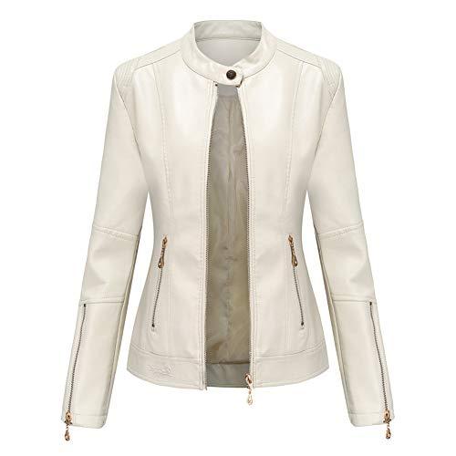 Damen Kunstleder Jacke Leather Jackets Motorradjacke Bikerjacke PU Lederjacke Outwear Kurz Damenjacke Kurze Jacke für Frühling Herbst (4 Farben),1-White,2XL