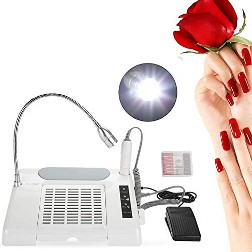 Rosvola 3 in 1 Nail File Drill, Grind Polishing Dust Collector Manicure Driller Machine with LED Desk Lamp for You(US Plug)