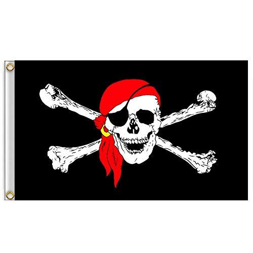 Ouken 1PC Piraten-Flaggen Jolly Roger Flagge Mit Messing Eingegossenes Kabel Doppelstich-Piraten-Jack-Kapitän Skull Schwert Banner Garden Flag House Breeze-Dekorationen Für Halloween-Dekoration (3 )