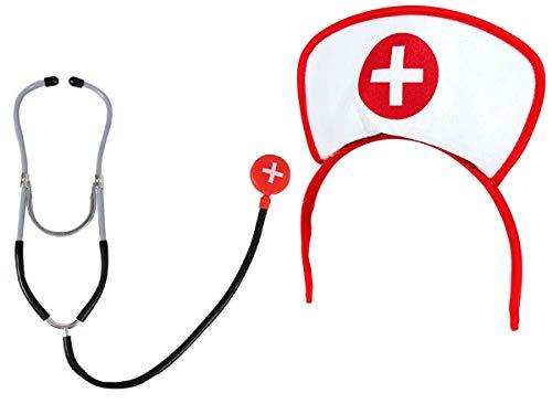 Alsino Krankenschwester Outfit Stethoskop Haube Set (Kv-56) Zubehör Verkleidung Krankenschwester-Set Karneval Fasching