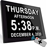 """Digital Clock with 16 Alarms & Remote Control, 8"""" Large AM/PM, Bedroom Wall Day Date Clock for Elderly Seniors Dementia Alzheimer's Gifts"""