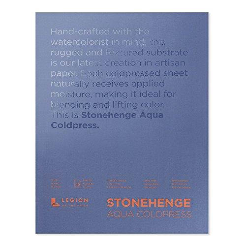 Legion Stonehenge Aquarellblock, 140 Kaltpresse, 22,9 x 30,5 cm, 15 Blatt, weiß