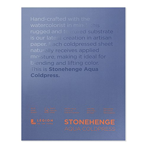 Legion Stonehenge Aqua Watercolor Block , 140 Cold Press, 9 X 12 inches, 15 Sheets, White