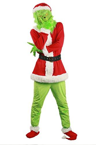 BIRDEU Weihnachten Kostüm Cosplay Top Outfit mit Maske Gürtel Hut Herren Damen Kleidung für Erwachsene Weihnachten Halloween Party