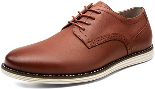JOUSEN Men's Dress Shoes Leather Casual Oxford Shoes Brogue Business Formal Shoes (9.5,Red Brown)