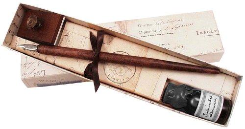 Federhalter aus Holz, schwarze Tinte und Löschwiege