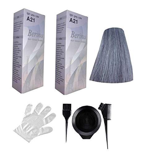 2 x Berina Haarfarbe A21 grau grey für schulterlanges Haar - inklusive Pinsel Kamm Färbebecher und Schutzhandschuh