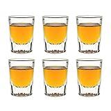 Libbey Fluted Whiskey - Bicchieri da liquore, 59 ml, 5,9 cl, 6 pezzi, lavabili in lavastoviglie