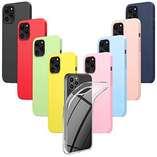 Leathlux 9 Cover Compatibile con iPhone 12 PRO Max 6.7 Pollici Silicone Custodia, Morbido TPU Gel Protettivo Cover, Rosa, Verde, Rosa Chiaro, Azzurro, Giallo, Rosso, Blu Scuro, Trasparente, Nero