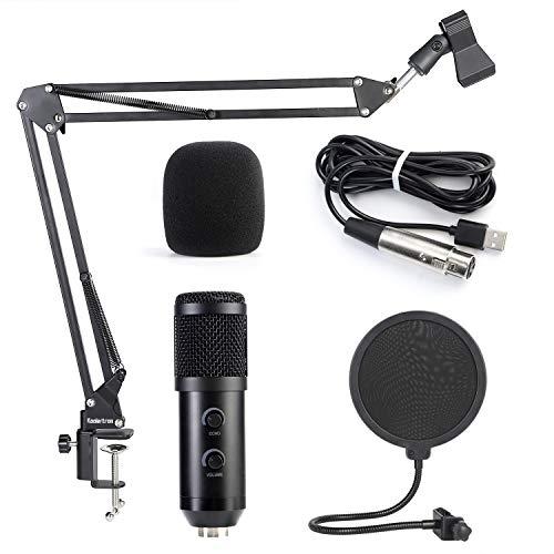 Koolertron Kondensator-Mikrofon Bundle, BM-900 Mic Set mit verstellbarem Mic Suspension Scissor Arm, Shock Mount und Double-Layer Pop Filter für Studio Recording & Broadcasting