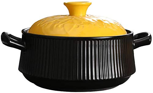 YFMMM Enameled Cast Iron Dutch Oven, 2L with Lid Pre-Seasoned Pot with Loop Handles Non-Stick Covered Versatile Healthy Design,Black