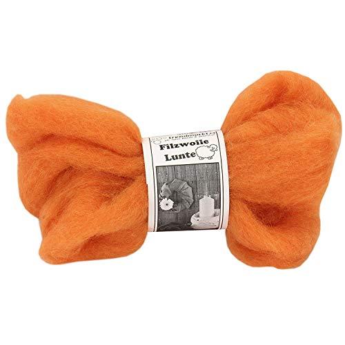 trendmarkt24 Filzwolle orange 2er Pack   Lunte-Set je 2m lang und 30-40 mm breit 100% Schafschurwolle Nassfilzen & Trockenfilzen wasserfest lichtecht farbecht Bastelfilz