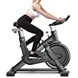 Bicicleta estática QM720 hogar Inteligente Ultra silencioso Bicicleta de Spinning Cubierta Equipos de Gimnasia, Soporte App Monitoreo del Ritmo cardíaco y Juegos Online