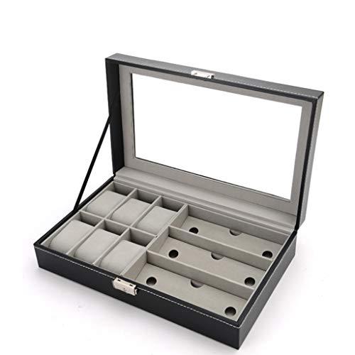 Aiglen Reloj Caja De Almacenamiento De Exhibición De Joyas Organizador De Gafas De Sol De Cuero Soporte De Caja Almacenamiento Ordenado Y Hermoso, Regalos Navideños (Color : Black)