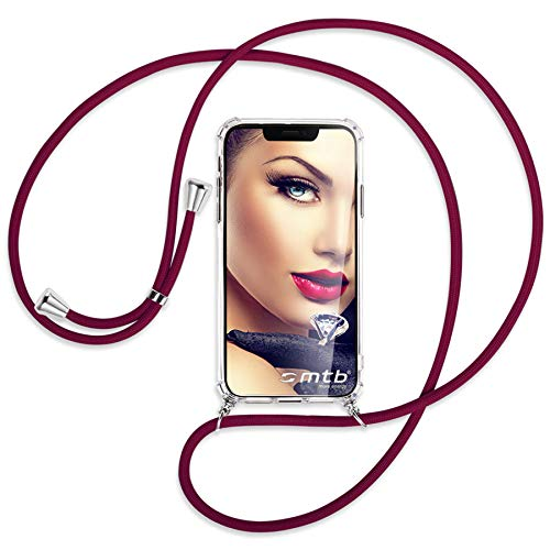 mtb more energy® Handykette kompatibel mit Sony Xperia L2, L2 Dual SIM (5.5'') - dunkelrot - Smartphone Hülle zum Umhängen - Anti Shock Full TPU Hülle