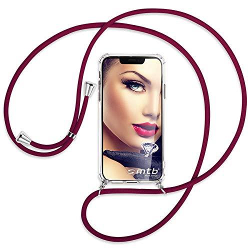 mtb more energy Collar Smartphone para Motorola Moto G9 Play (6.5'') - Rojo Oscuro - Funda Protectora ponible - Carcasa Anti Shock con Cuerda Correa
