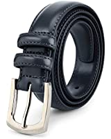 Men's Genuine Leather Dress Belt Classic Stitched Design 30mm 'ALL LEATHER' Navy Size 38