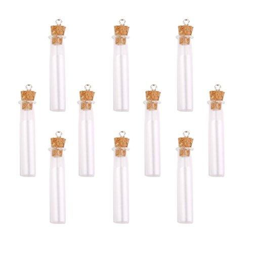 10x Frascos de Botellas de Vidrio Vacías Pequeñas Encantos con Tapón de Corcho Corazón/Estrella/Lágrima - B, Individual