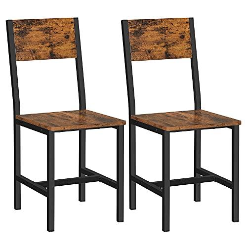 VASAGLE Juego de 2 sillas de Comedor, Estructura de Acero, Estilo Industrial, para Comedor, Sala de Estar, Cocina, Marrón Rústico y Negro LDC092B01