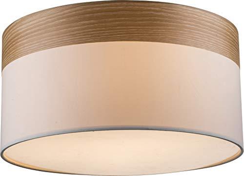 Lámpara de techo para dormitorio, pantalla de tela, lámpara de salón (lámpara de dormitorio, aspecto de madera, 40 cm, 3 bombillas E27)