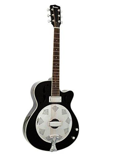 Set de 2 x Guitarra con resonador CONE con Mini-pickup, negra - Pack de guitarras acústicas / Guitarra con amplificador mecánico - showking