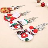CHBOP 3 x 4 Stück Weihnachten Bestecktasche Besteckbeutel Besteckhalter Weihnachtsdeko tischdeko Rentier Schneemann Weihnachtsmann insgesamt - 6
