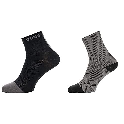 GORE WEAR M Calcetines unisex, Talla: 41-43, Color: negro/gris + C3 Calcetines Para Ciclismo Unisex, Talla: 41-43, Color: Gris/Negro