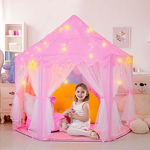 Tenda da principessa, Tenda da gioco per ragazze,Tenda da gioco per bambini, Tenda giocattolo da interno e da esterno, Regalo di Natale E compleanno per ragazze(rosa)