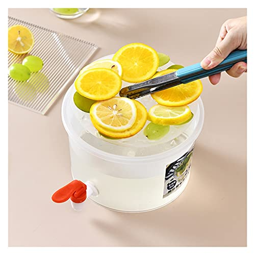 Hervidor frío Redondo/Cuadrado con Grifo, Cubo de limón de Gran Capacidad, Tetera de Frutas, Jarra de Agua Helada, dispensador de Bebidas para Cocina (Tamaño : Round)