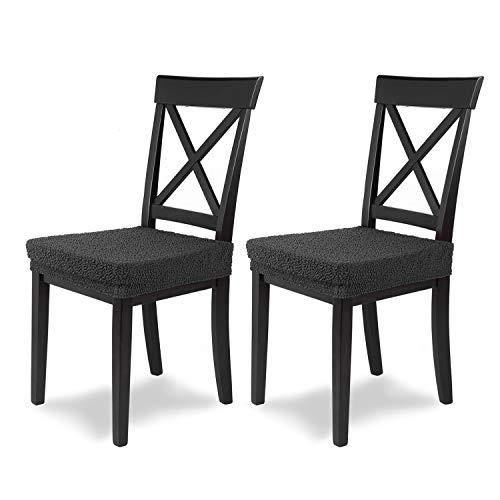 SCHEFFLER-Home Stretch Stuhlbezug Jacquard Lea | 2er Set elastische Stuhlauflagen | Sitzbezug Esszimmerstuhl | Elegante Auflage für Stühle | Stuhlhussen Stretch mit Gummiband