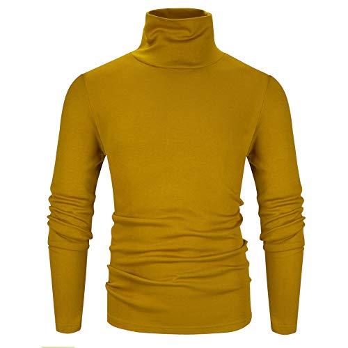 Derminpro Men's Thermal Turtleneck Soft Long Sleeve T-Shirt Yellow Large