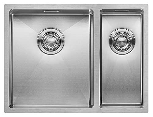 Fregadero de Cocina Mizzo Linea 34-18 | Acero Inoxidable 304 | Mueble de 60 cm | Montaje Bajo o Sobre Encimera o al Ras | Radio 10mm | 1.5...