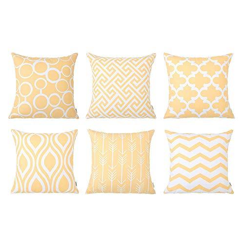 Juego de cojines amarillos para decorar - 6 Pack