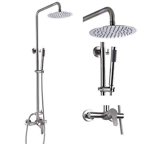 Outdoor Shower Faucet Fixture System Combo Set SUS304 Rainfall Shower Head Single Handle High Pressure Hand Spray Wall Mount 2 Function Brush Nickel 8 inch Rainfall Shower Head Kit Dual Function