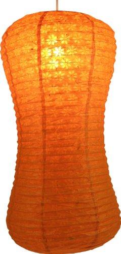 Guru-Shop Corona Golf Rijstpapier - Lokta Tafellamp, Tafellampenkap, Oranje, Lokta-papier, Kleur: Oranje, 52x29x29 cm, Aziatische Plafondlampen Papieren Lampen Stof