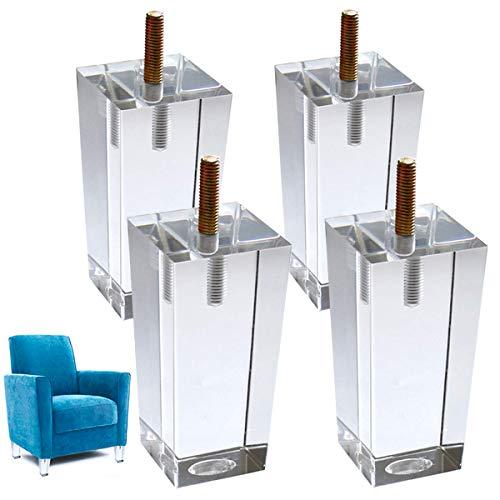 4er Möbelfüße Sofabeine Glas Schrankbeine Acryl Sockelbeine (10cm hoch)
