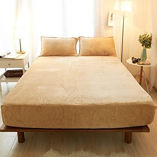 HAIBA Juego de sábanas – Tela de microfibra cepillada suave de fácil cuidado – Sábana bajera, sábana bajera ajustable – Resistente a la decoloración – Amarillo, 180 x 200 cm + 25 cm