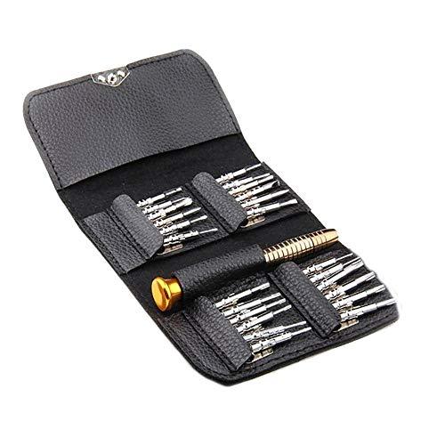 25 Piezas Mini Mini Juego de Destornilladores Reloj Joyería Herramienta de Reparación Electrónica Herramienta Herramienta de Reparación de Apertura Multifunción-Negro