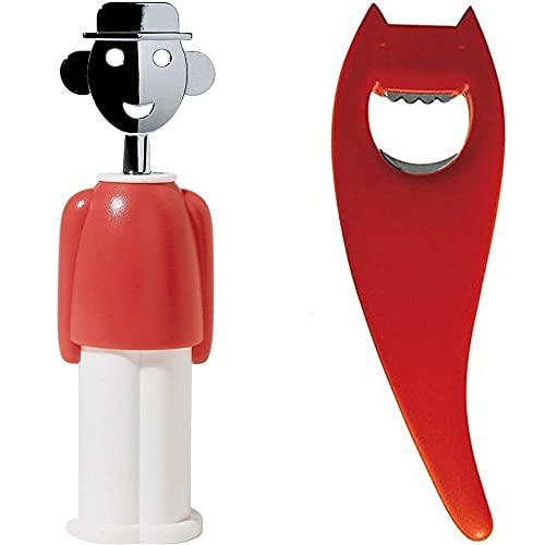 Alessi Alessandro M Aam23 R Cavatappi Di Design In Zama Cromata E Resina Termoplastica, Rosso & Abc01 R Diabolix Apribottiglie In Pa, Rosso