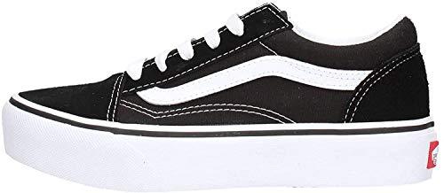 Vans Viejo Skool Plataforma Niñas Ante Encaje Zapatos De Entrenador 32 EU Black Suede/True White