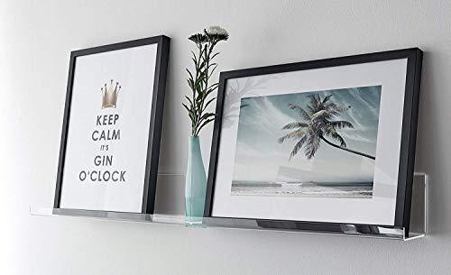 Fotolijst, galerieboard, galerijrails, plankbord, schilderijlijst, wandplank, plexiglas, transparant, glashelder, verkrijgbaar in drie maten 50x10x8.5 cm transparant