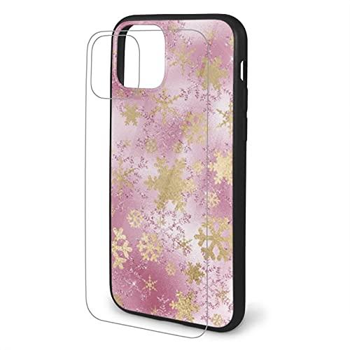 Funda para iPhone 11 con diseño de copo de nieve de cobre rosa, diseño elegante, a prueba de golpes, resistente a los arañazos, cubierta trasera de vidrio templado de TPU para iPhone 11 Pro Max