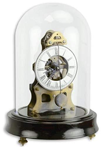 Casa Padrino Jugendstil Tischuhr mit Glasglocke Schwarz/Messingfarben Ø 13 x H. 18,7 cm - Dekorative Schreibtischuhr - Deko Accessoires