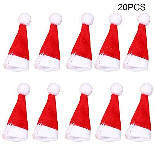 Lanceasy 20 stuks loller kerstmuts klein mini snoep kerstman versiering party
