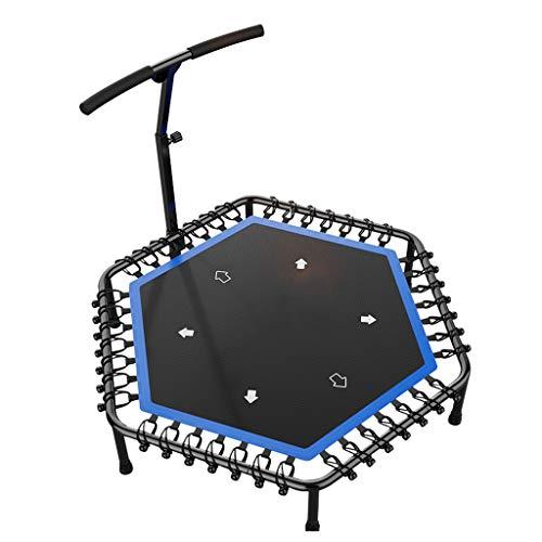 Hexagon Jumping Fitness Trampolin mit Haltegriff und leise Gummiseilfederung Sprung für Kinder & Erwachsene in Zuhause Indoor Outdoor, Unterstützung bis zu 220 kg