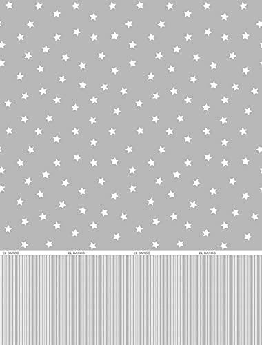 El Barco Juego de Sabanas Estampadas Algodon - Poliester. 3 Piezas, Funda Almohada, Bajera Ajustable y Encimera. Calidad y Diseño. Suave y Resistente. Estrellas Gris. Cama 135 cm