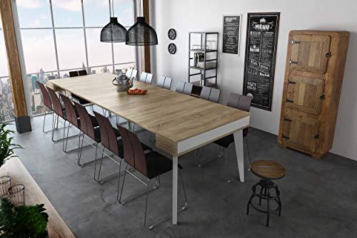 Home Innovation - Table Console de Salle à Manger et Séjour rectangulaire avec rallonges, Extensible Nordic K jusqu' à 300 cm, finition Blanc Mat - Chêne brossé. Style Scandinave. Jusqu´à 14 personnes