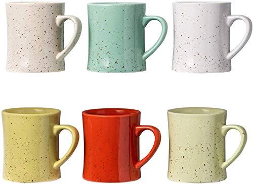 Tazas de Café de Cerámica Vintage - Juego de 6 Tazas de Café Multicolor - Tazas de Cerámica Retro - Seguro para Microondas y Lavavajillas - Tazas Decorativas para Tus Bebidas Favoritas 350ml/Taza