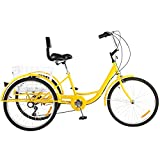 Bicicleta 24 ', 7 velocidades y 3 ruedas - Triciclo para adultos Personas mayores Compras Triciclo carga Bicicleta luz y canasta Capacidad carga compras 150 kg Para compras deportivas al aire libre